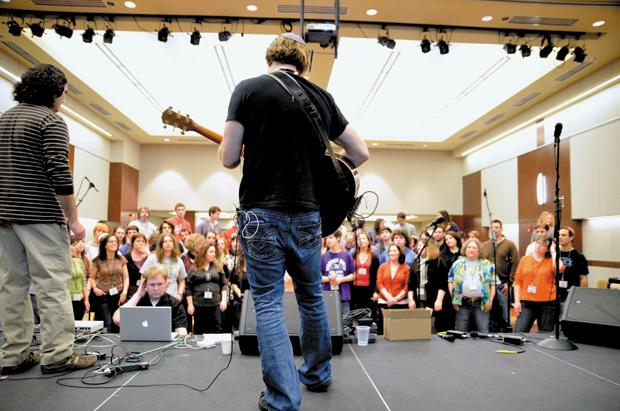 Todd Herzog and Rick Recht end last year's Songleader Boot Camp at the JCC. This year, the first three days of the boot camp will be part of a new initiative, the Jewish Rock Radio RockFest, featuring a variety of nationally touring Jewish musicians. Photo: Yana Hotter
