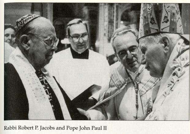 Rabbi Robert P. Jacobs meets Pope John Paul II at the Cathedral Basilica in St. Louis in 1999. Photo from 'Zion of the Valley: The Jewish Community of St. Louis' by Walter Ehrlich.