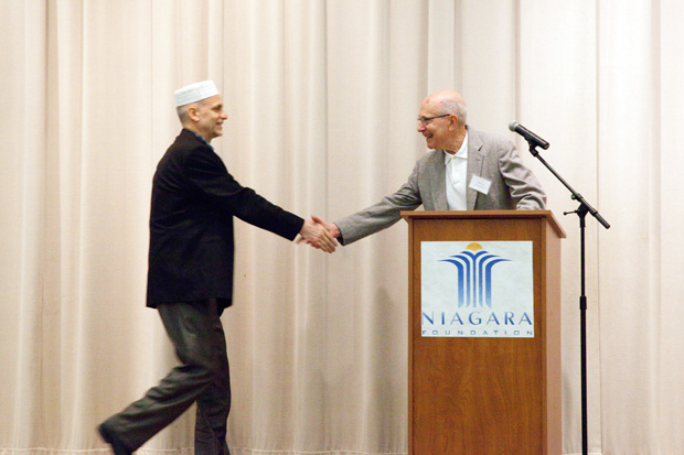 Harvey+Schneider%2C+a+past+president+of+Shaare+Emeth+and+Interfaith+Partnership%2C+greets+Imam+Muhammed+Hasic+during+an+Iftar+meal+breaking+Muslims%E2%80%99+daily+fast+during+Ramadan.%C2%A0