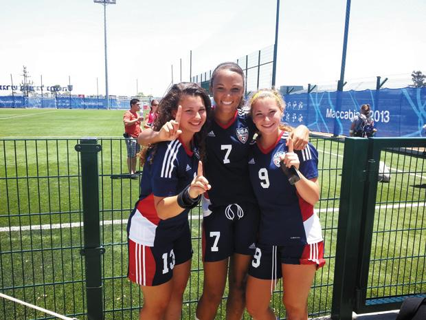 Sarina+Dayan+%28at+left%29+celebrates+the+U.S.+junior+girls+soccer+team%E2%80%99s+gold-winning+victory+over+Israel.%C2%A0