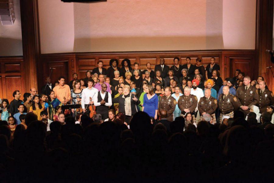 Performers come together at the close of the 9-11 Interfaith Memorial in Music held in 2012. The annual event has spurreda yearlong series of Arts & Faith events. Photo: Ray Marklin