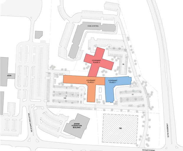 A+NEW+VISION+FOR+COVENANT+HOUSE%3A%C2%A0+Pictured+above+is+a+conceptual+site+plan+for+the+three-phase+redevelopment+proposal+Covenant+House+has+created+for+the+Millstone+Campus.%C2%A0+The+blue+building+marks+Phase+1%3B+orange+is+Phase+2+and+red+is+Phase+3.+Phase+1+would+include+building+on+part+of+the+site+formerly+occupied+by+the+old+AMF+Strike+%E2%80%98n+Spare+Lanes+%28and+owned+by+the+Jewish+Community+Center%29%2C+currently+optioned+to+Covenant.%C2%A0%C2%A0