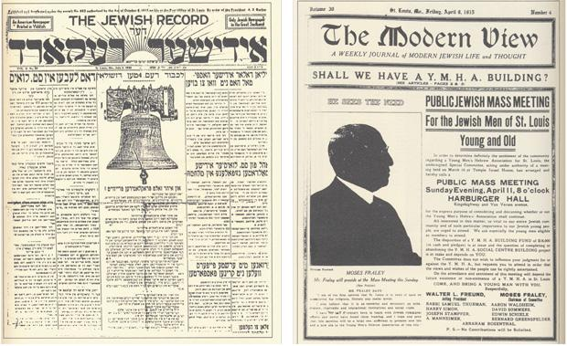 Early Jewish newspapers included The Jewish Record and The Modern View.
