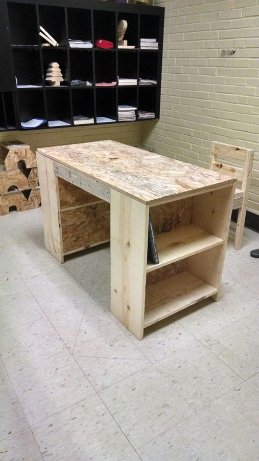 A prototype of the bookcase/table and chair that the Roosevelt HIgh School shop students will create for fellow students in the St. Louis Public Schools.