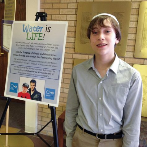For his mitzvah project, Michael Schmitz decided to raise money for water.org, an organization co-founded by actor Matt Damon, which works to provide clean, safe drinking water for communities around the world.