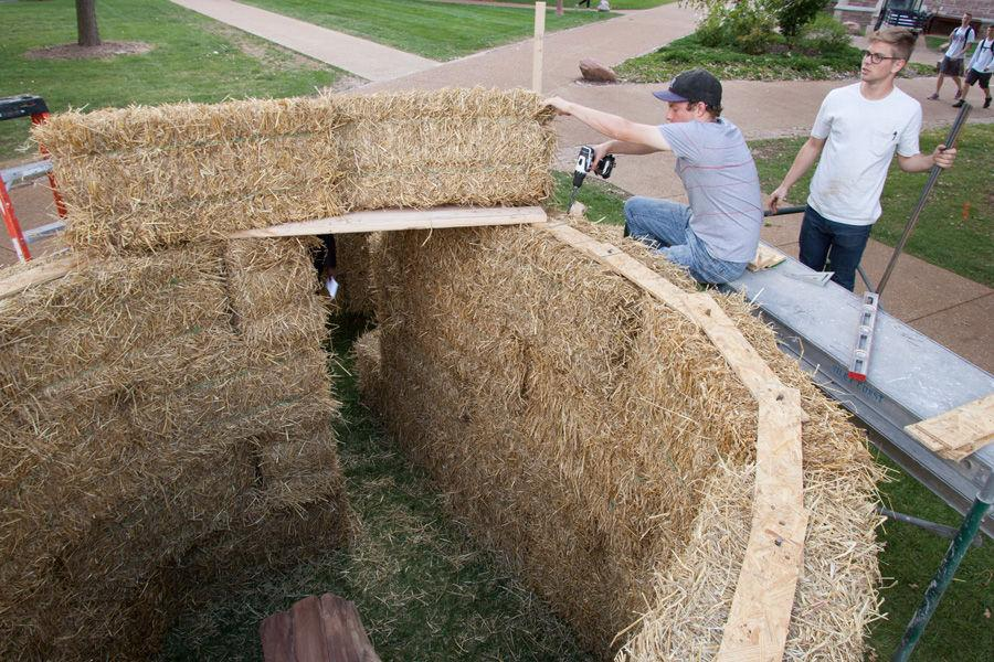 Kansas State architecture students Eric Dernbach (in baseball cap) and Andy McAllister work on constructing fellow student (not pictured) Devin Brown's sukkah design on Oct. 6, 2014 at Washington University. Brown's design, made of hay bales, was one of 10 finalists in Sukkah City STL, held by St. Louis Hillel and Wash U. The teams constructed their sukkot on the quadrangle just west of the university's Olin Library.