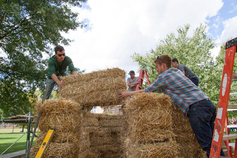 Kansas State architecture students (from right) Brian Delaney, Brandon Eversgerd and Eric Dernbach work on constructing fellow student Devin Brown's sukkah design on Oct. 6, 2014 at Washington University. Brown's design, made of hay bales, was one of 10 finalists in Sukkah City STL, held by St. Louis Hillel and Wash U. The teams constructed their sukkot on the quadrangle just west of the university's Olin Library.