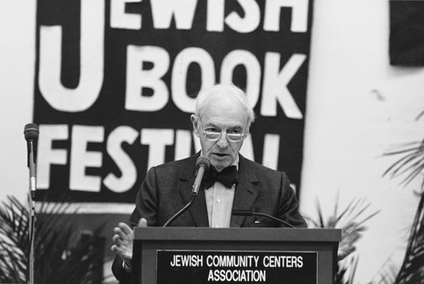 Author Saul Bellow addresses the audience during his keynote talk at the St. Louis Jewish Book Festival in 1988. Light File Photo: David M. Henschel