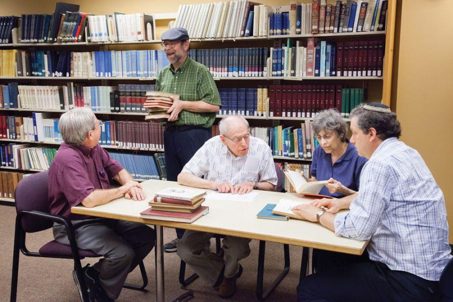 Browsing Yiddish collection at Brodsky Library