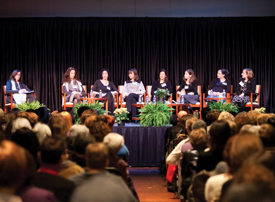 A panel of seven St. Louis Jewish women in the clergy — five rabbis, one cantor and one maharat — take part in a panel discussion moderated by Ellen Sherberg, publisher of the St. Louis Business Journal (at left). Photo: Lisa Mandel