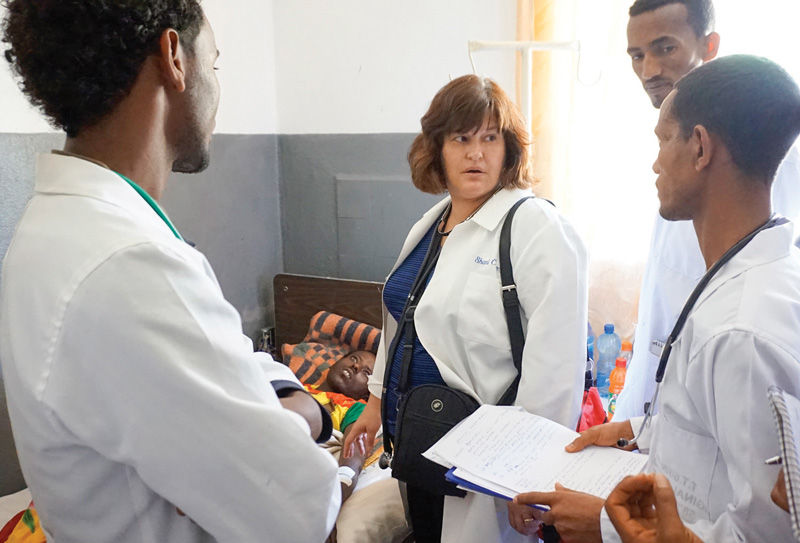 Dr. Shari Cohen consults with doctors at Aksum University in Ethiopia during a trip this spring as part of Partnership Ethiopia, a nonprofit organization established in 2013 in St. Louis by Gayle Bogenschneider and Bruce Schmidt.