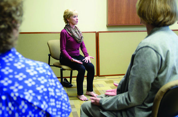 Nancy Le Claire teaches a Chair Yoga class for the St. Louis NORC. Photo courtesy Jewish Federation of St. Louis
