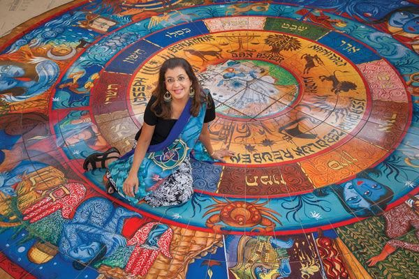 Indian-Jewish+artist+Siona+Benjamin+spent+more+than+a+year+working+on+a+painting+that+would+be+transformed+into+a+15-foot+wide+circular+mosaic+installed+in+the+floor+at+Central+Reform+Congregation.%C2%A0Photo%3A+Kristi+Foster