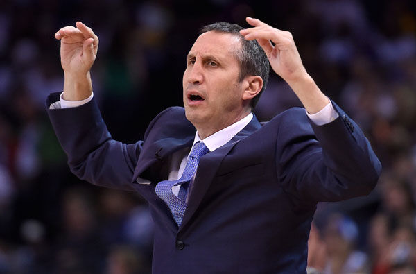 David Blatt, then coach of the Cleveland Cavaliers, reacting to a call in a game against the Golden State Warriors in Oakland, Calif., Dec. 25, 2015. (Thearon W. Henderson/Getty Images)
