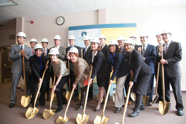 Dignitaries take up golden shovels at Covenant Place's Feb. 17 official ground-breaking ceremony.