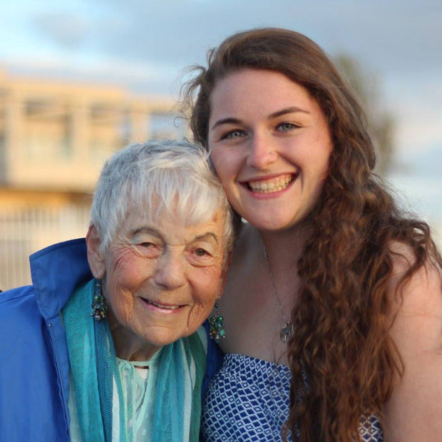 Indiana+University+freshman+Gabby+Mesnier+met+with+Holocaust+survivor+Trudy+at+a+March+of+the+Living+trip.