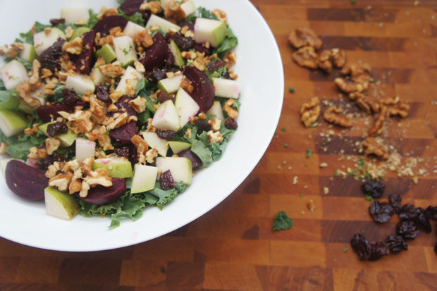 Chopped+Kale+Salad+with+Apple+and+Roasted+Beets