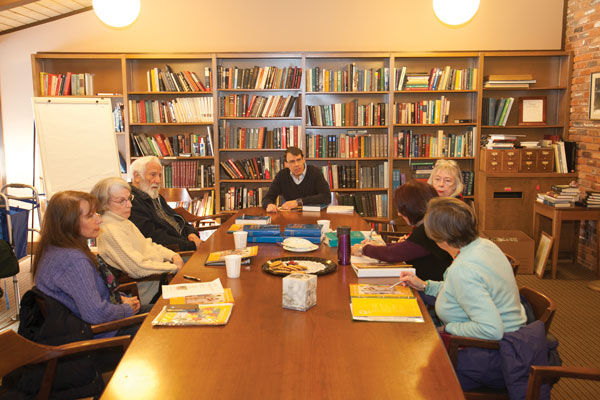 The+adult+Chai+Mitzvah+group+meets+for+a+study+session+at+Temple+Emanuel+earlier+this+month.+A+group+of+confirmation+students+are+also+taking+part.+Photo%3A+Andrew+Kerman