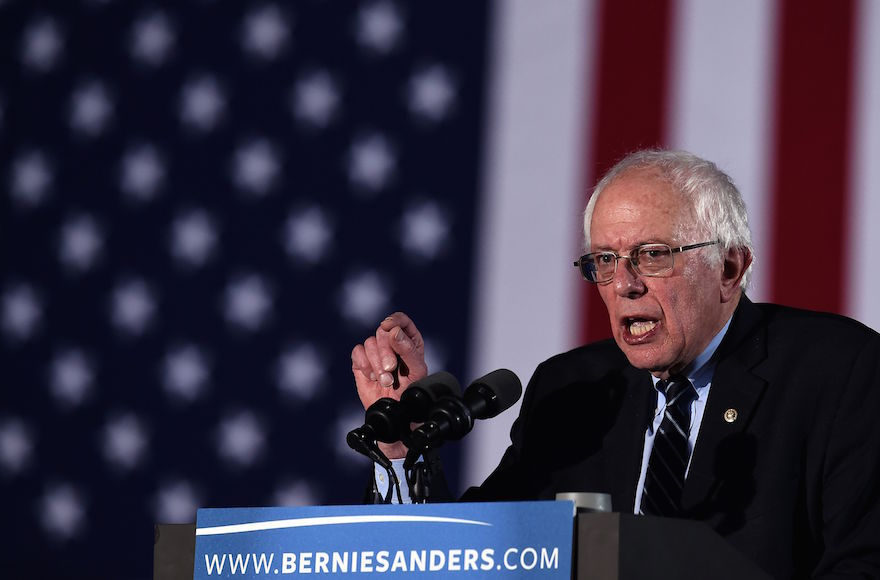 US+Democratic+presidential+candidate+Bernie+Sanders+speaks+during+the+primary+night+rally+in+Concord%2C+New+Hampshire%2C+on+Feb.+9%2C+2016.+Photo%3AJEWEL+SAMAD%2FAFP%2FGetty+Images
