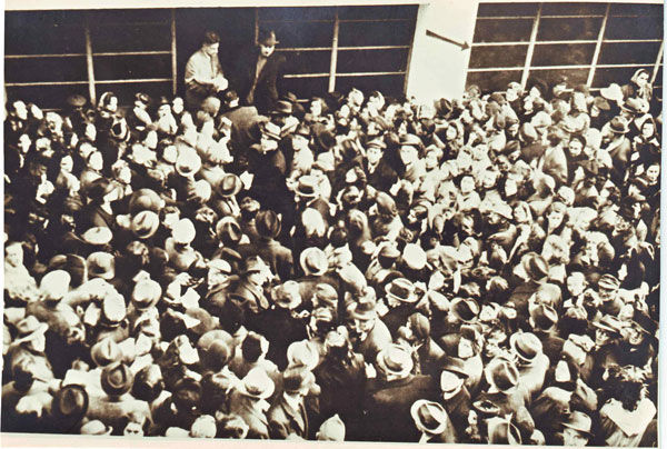 Budapest Jews crowding into the Glass House, a Budapest factory that housed an operation credited with saving more than 40,000 of the Hungarian city's Jews in 1944 and 1945. (Courtesy of Beit Ha'edut)
