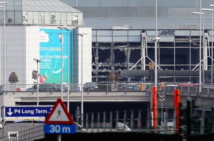 A view of bomb damage at Zaventem Airport in Brussels following a terrorist attack in the Belgian capital, March 22, 2016. (Sylvain Lefevre/Getty Images)