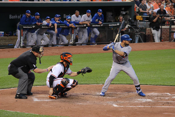 Kevin Pillar hitting against the Baltimore Orioles, May 12, 2015. At least one observer sees the Toronto Blue Jays' outfielder as the best Jewish player in baseball. (Hillel Kuttler)