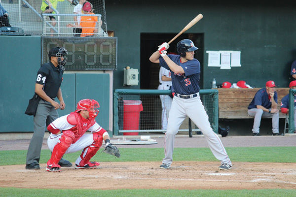Nate Freiman at bat for the Portland Sea Dogs in a game against the Harrisburg Senators in Pennsylvania in May. Photo: Hillel Kuttler