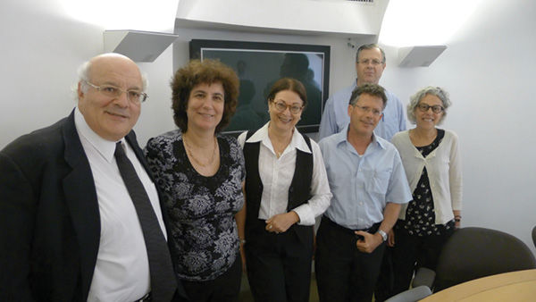 Epstein (far right) is shown with some of Israel's Supreme Court justices in Jerusalem. Epstein is the Ethan A.H. Shepley Distinguished University Professor at Washington University.