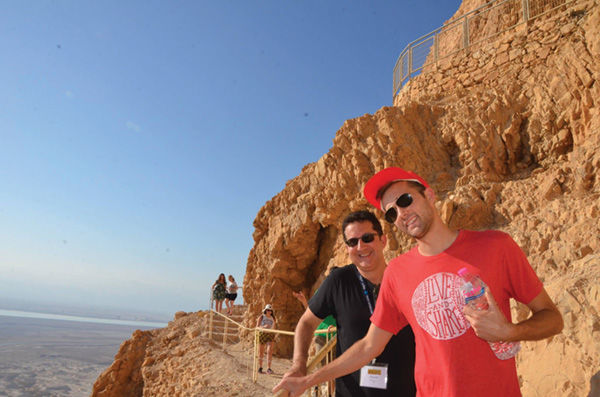 Eric Hamblett (right) traveled to Israel recently on a Birthright Israel trip.