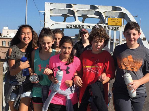 Saul Mirowitz Jewish Community School middle school students visited the Edmund Pettus Bridge in Selma, Ala.