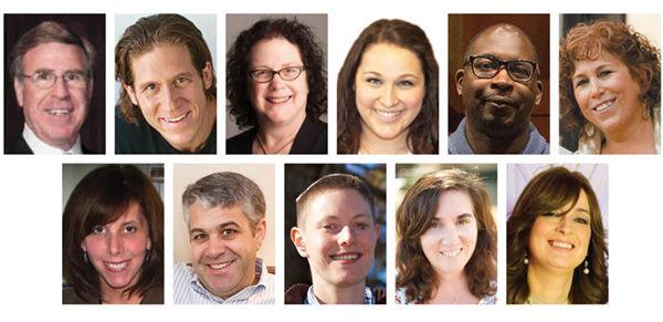 Top row, from left: Marty Oberman, Rick Recht, Rosalie Stein, Amy Pakett, Derrick Bryant and Ellen Futterman; second row: Randi Schenberg, Craig Neuman, Rabbi Micah Buck-Yael, Leiba Levine and Esti Zuravin.