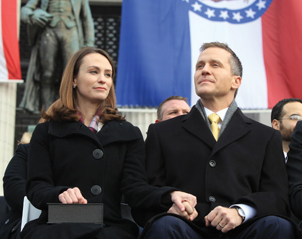 Missouri+Governor-elect+Eric+Greitens+and+his+wife+Sheena+wait+for+the+church+bells+to+toll+at%C2%A0+noon+on+Monday+during+inauguration+ceremonies+on+the+steps+of+the+Capitol+in+Jefferson+City%2C+Mo.%C2%A0+Greitens+becomes+Missouris+56th+Governor.+Photo+by+Bill+Greenblatt%2FUPI