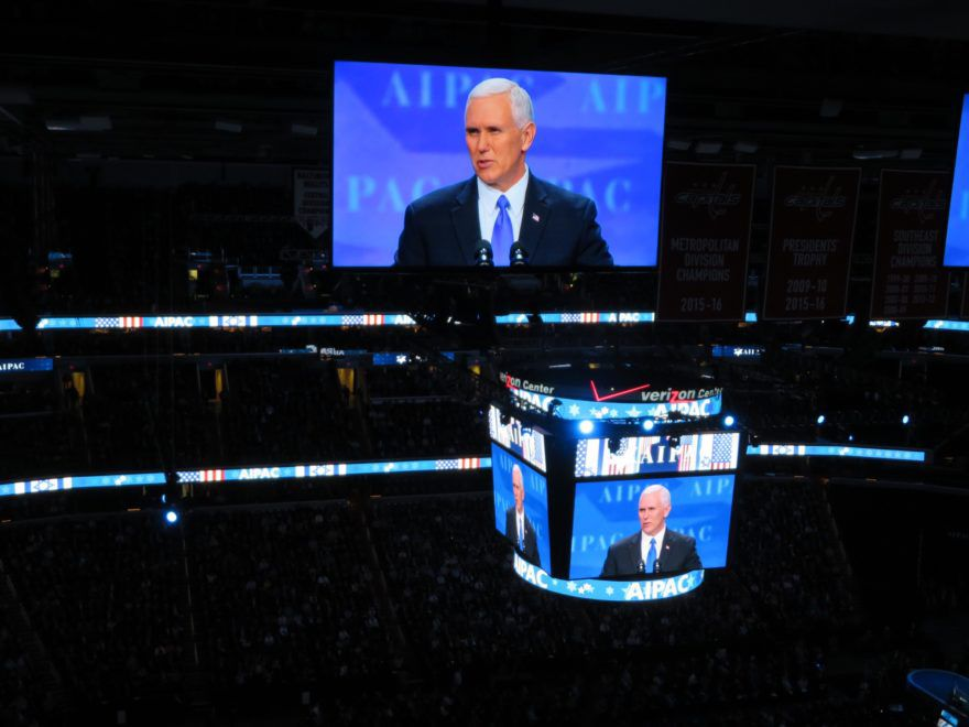 Vice+President+Mike+Pence+speaks+March+26+2017+to+the+AIPAC+conference.+%28Ron+Kampeas%29