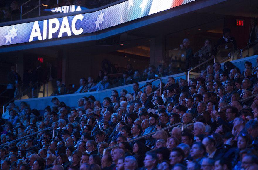 The+crowd+at+last+year%E2%80%99s+AIPAC+conference+at+the+Verizon+Center+in+Washington%2C+D.C.%2C+listening+to+Hillary+Clinton+speak%2C+March+21%2C+2016.+%28Saul+Loeb%2FAFP%2FGetty+Images%29