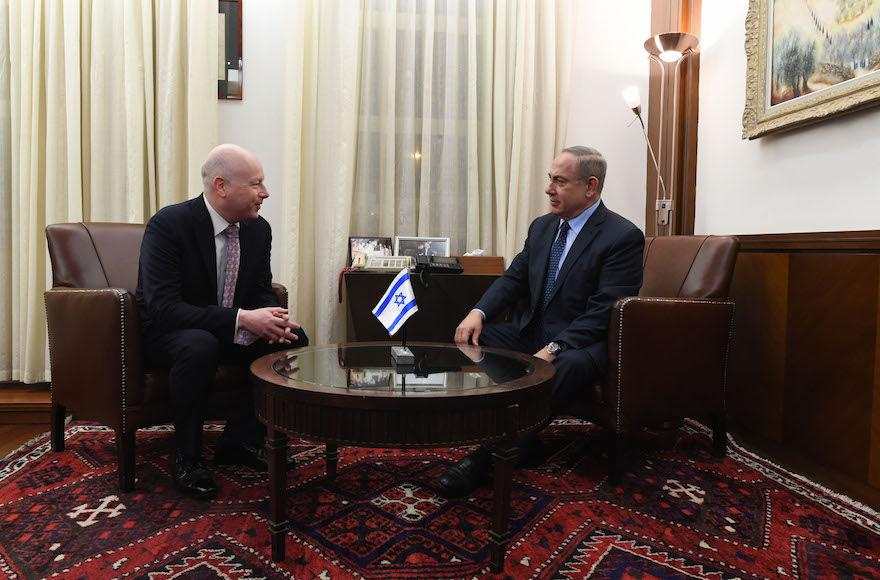 Jason+Greenblatt%2C+left%2C+meeting+with+Benjamin+Netanyahu+in+Jerusalem.+%28Kobi+Gideon+%2F+GPO%29