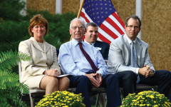 In a 2007 file photo, Michael Staenberg (right) is shown with (from left) Jewish Community Center CEO Lynn Wittels, I.E. Millstone and Rabbi Brad Horwitz at a groundbreaking event for what would become the J's Staenberg Family Complex. Photo: MikeSherwin