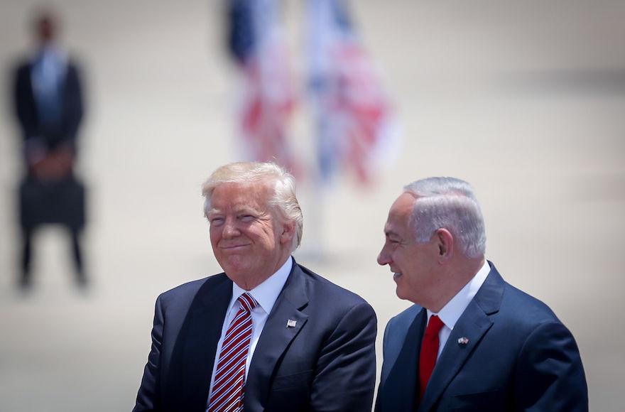 Israeli+Prime+Minister+Benjamin+Netanyahu%2C+right%2C+welcoming+U.S.+President+Donald+Trump+to+Israel+at+Ben-Gurion+Airport+near+Tel+Aviv%2C+May+22%2C+2017.+%28Hadas+Parush%2FFlash90%29