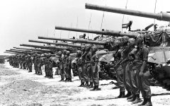 An Israeli armored unit of Centurion tanks mounted with 105 mm guns stand in the Negev in May, 1967, just days before the start of the Six-Day War. Photo: FRITZ COHEN/GPO