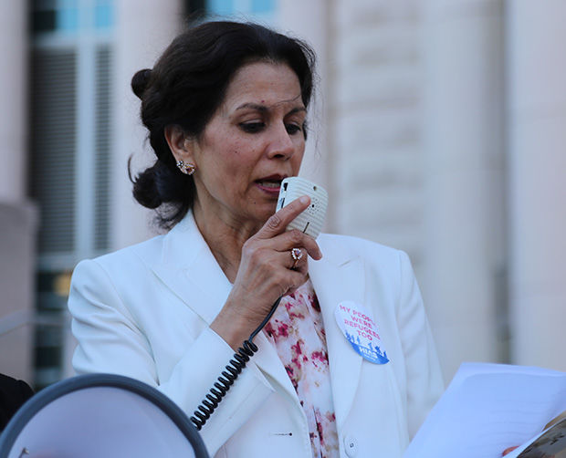 Dr. Ghazala Hayat of the Islamic Foundation of Greater St. Louis speaks at a 2017 interfaith vigil at the Thomas F. Eagleton Courthouse downtown, marking the 78th anniversary of end of the voyage of the MS St. Louis, an ocean liner carrying refugees fleeing Nazi Germany. The vigil was organized by the Jewish Community Relations Council, the Holocaust Museum of St. Louis and several interfaith partners. Photo: Bill Motchan