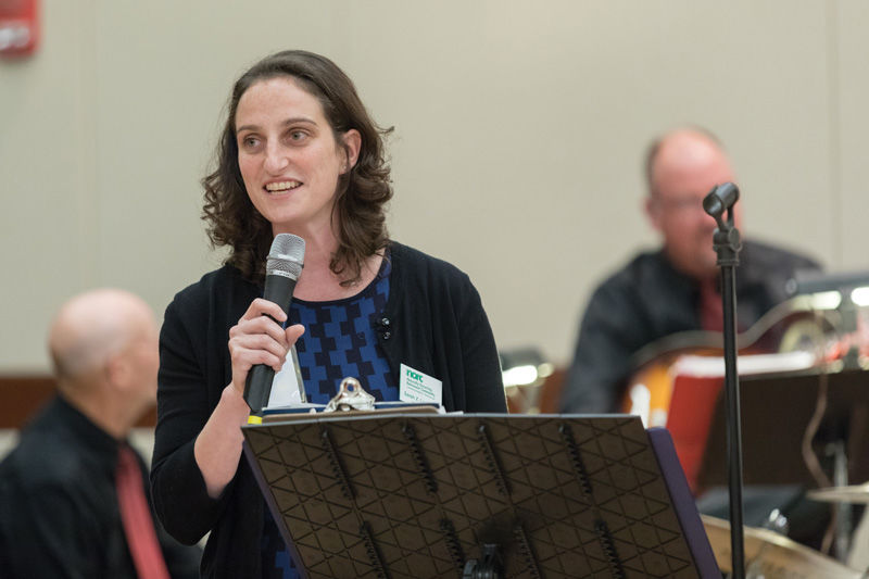 In late August, new St. Louis NORC Director Sarah Levinson speaks at a dance event at the Jewish Community Center for NORC residents. Photo: Zach Dalin, courtesy of Jewish Federation of St. Louis