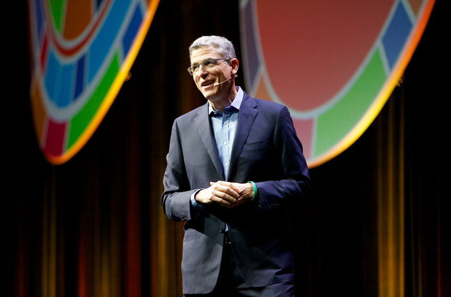 Rabbi Rick Jacobs, president of the Union for Reform Judaism, addressing delegates at its 2017 Biennial in Boston, Dec. 7, 2017. (Courtesy of the Union for Reform Judaism)