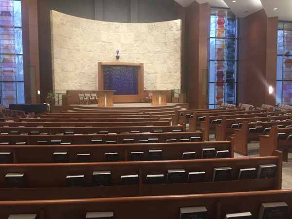 Shaare Emeth's recent $8.5 million renovations included a number of improvements to assist members with mobility issues, including a ramp circling behind the bimah.