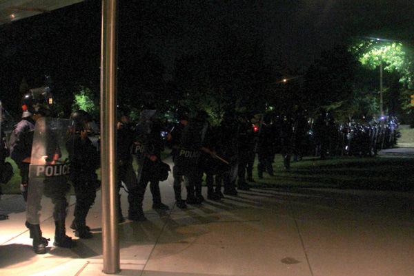 Police officers outside Central Reform Congregation