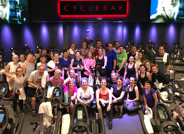 More than 40 people showed up for a fundraiser hosted by Lory Cooper (center, with blue head band) at Cyclebar in Creve Coeur in December. Cooper raised $867 for the St. Louis Holocaust Museum and Learning Center, where she is a docent and tour guide.