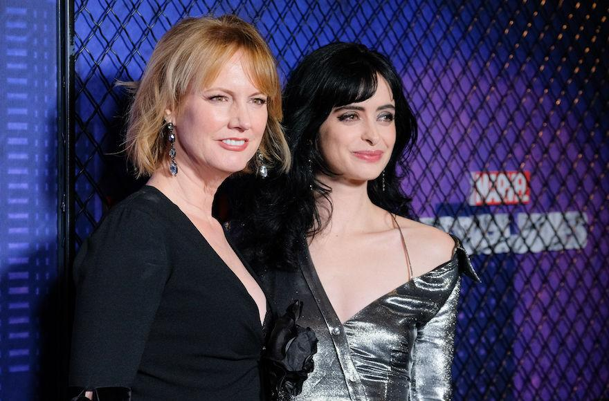 "Melissa Rosenberg, left, with Krysten Ritter at the New York premiere of the second season of ""Jessica Jones,"" March 7, 2018. (Matthew Eisman/Getty Images)"