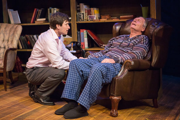 """Andrew Michael Neiman (left) as Mitch and James Anthony as Morrie in the NJT season opener, """"Tuesdays with Morrie.'Photos: Eric Woolsey"""