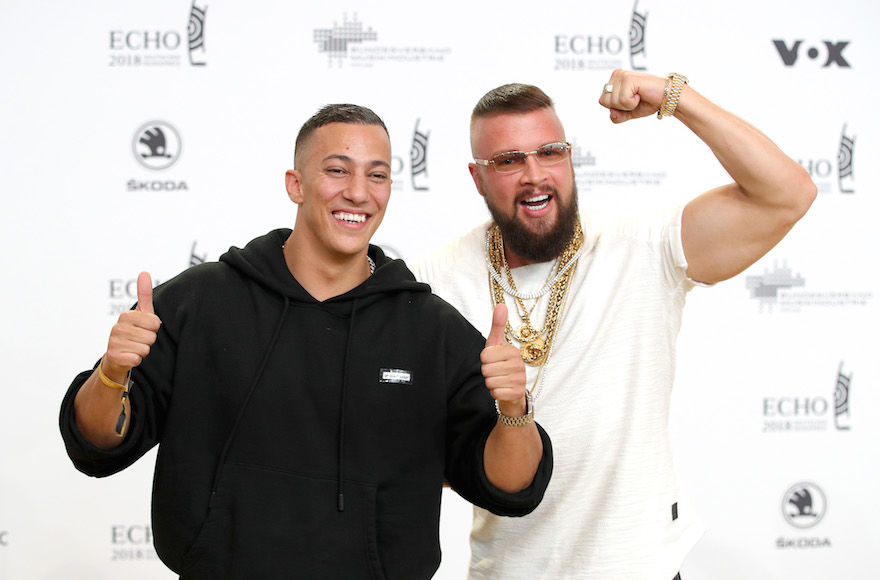 Farid+Bang%2C+left%2C+and+Kollegah+at+the+Echo+Awards+ceremony+in+Berlin%2C+April+12%2C+2018.+%28Andreas+Rentz%2FGetty+Images%29