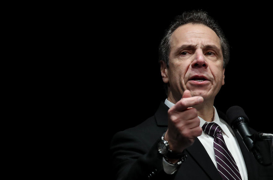 New+York+Governor+Andrew+Cuomo+speaking+at+a+healthcare+union+rally+at+the+Theater+at+Madison+Square+Garden%2C+Feb.+21%2C+2018.+%28Drew+Angerer%2FGetty+Images%29