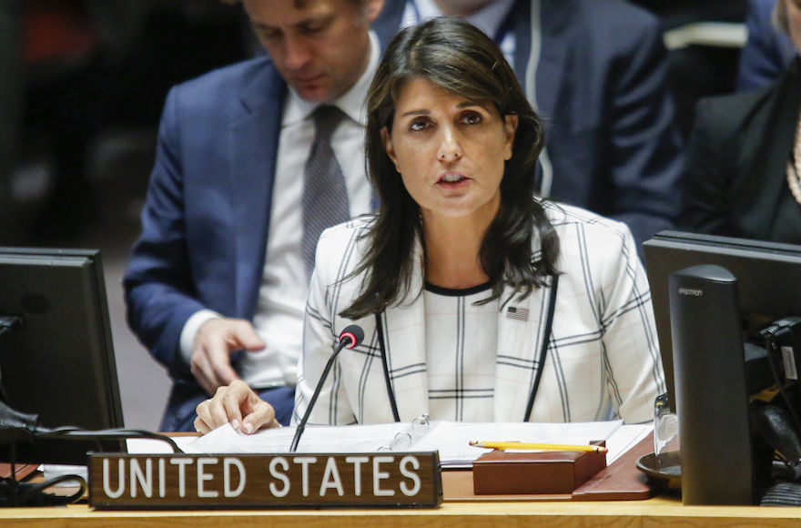 U.S.+Ambassador+to+the+United+Nations+Nikki+Haley+speaks+at+a+U.N.+Security+Council+emergency+session+on+the+demonstrations+at+the+Israel-Gaza+conflict%2C+at+U.N.+headquarters+in+New+York+City%2C+May+30%2C+2018.+%28Eduardo+Munoz+Alvarez%2FGetty+Images%29