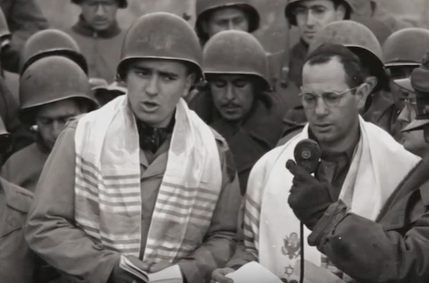 Max+Fuchs%2C+left%2C+helped+lead+a+historic+service+for+Jewish-American+soldiers+in+Aachen%2C+Germany%2C+in+1944.+%28Screenshot+from+YouTube%29
